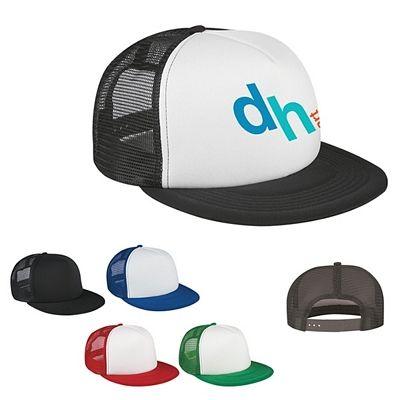 Promotional Flat Bill Trucker Cap #hats #advertising #promoproducts   Customized Flat Bill Trucker Cap   Logo Caps
