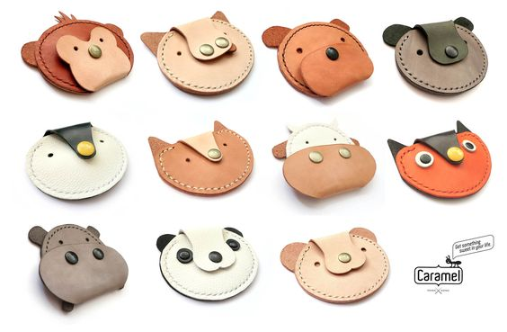 Leather coin case - Animal Kingdom