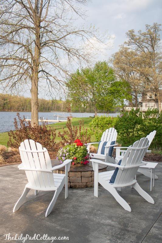 Painted Adirondack chairs and fire pit | The Lilypad Cottage