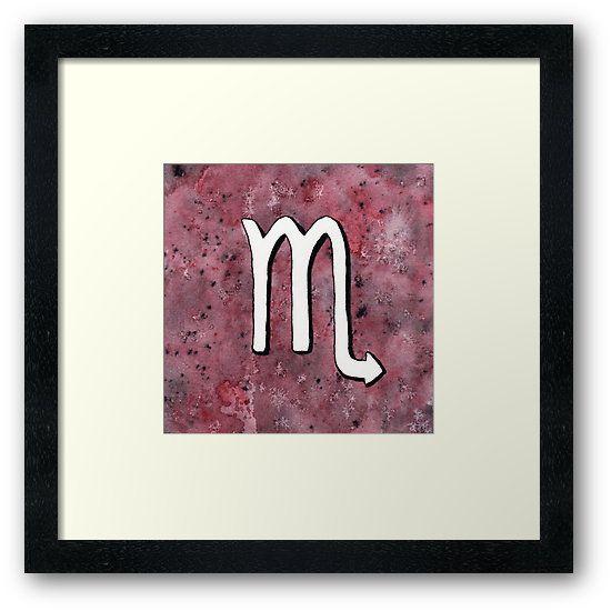 """Zodiac sign : Scorpio"" Framed Art Print by Savousepate on Redbubble #framedartprint #artprint #homedecor #astrology #astrologicalsign #zodiacsign #scorpio #purple #burgundy #black #white #watercolorpainting"