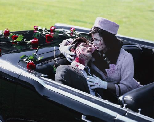 MY CHEMICAL ROMANCE...GERARD WAY, with his wife--- LYN-Z, renacting the infamous scene of former President John.F. Kennedy's assassination...    Gerard, of course as the deceased president, and Lyn-Z as Jackie O.