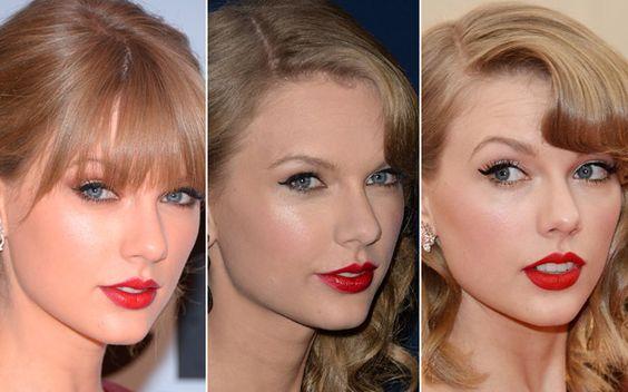 1. Pensou em Taylor Swift, pensou no mix retrô de gatinho preto e batom vermelho. Você ama uma maquiagem específica? Então, faça como Tay e transforme-a em sua marca registrada.