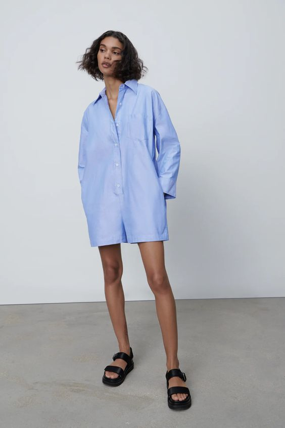 Limited edition shirt-style jumpsuit zara sale