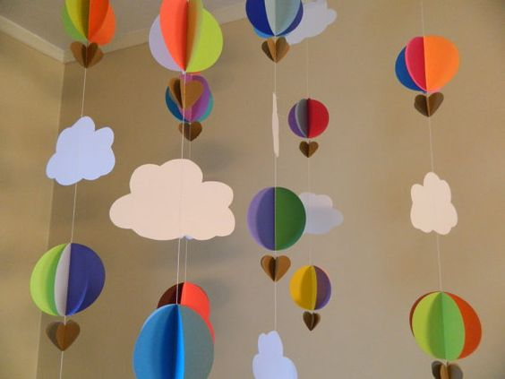 Hot air balloon paper and birthdays on pinterest for 3d decoration for birthday