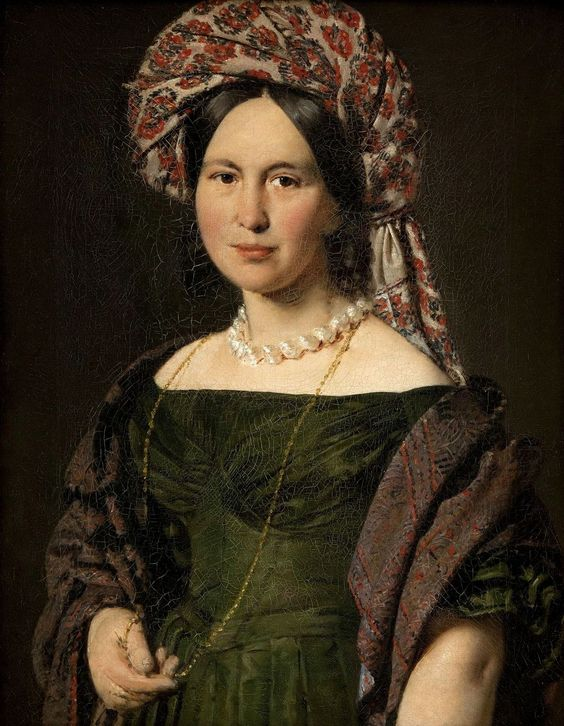 Christian Albrecht Jensen (1792-1870) Cathrine Jensen, nye Lorenzen, the artist's Wife , Wearing a Turban, c. 1842-44