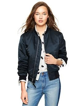 Ladies navy leather bomber jacket – Modern fashion jacket photo blog