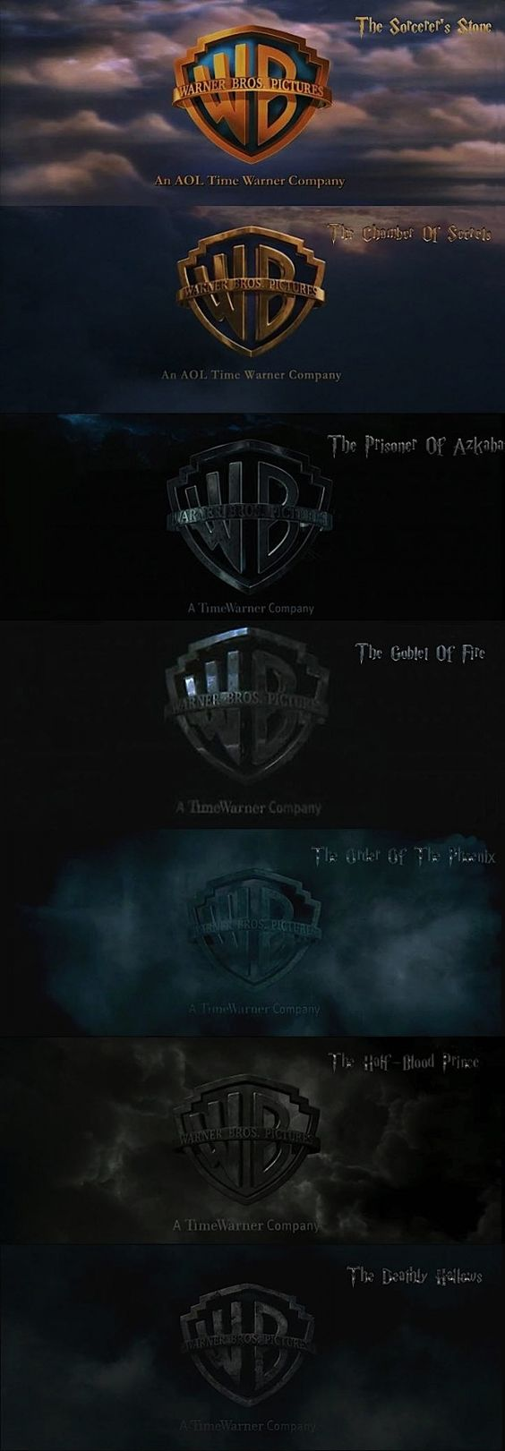 Harry Potter progression of scary.: Warner Bros, Wizard Harry, Potter Head, Things Harry, Wb Logo, Potterhead, Harry Potter Movies, Harry Potter Film