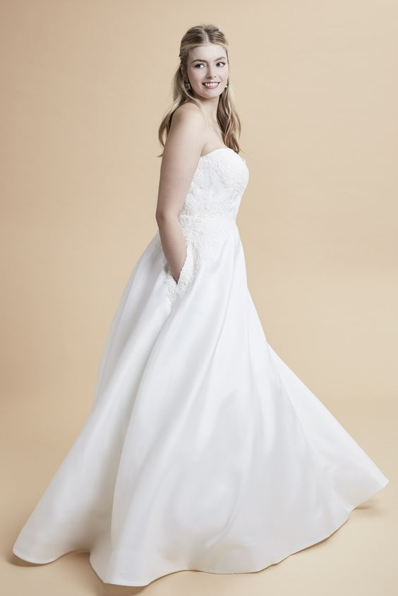 An A-line wedding dress