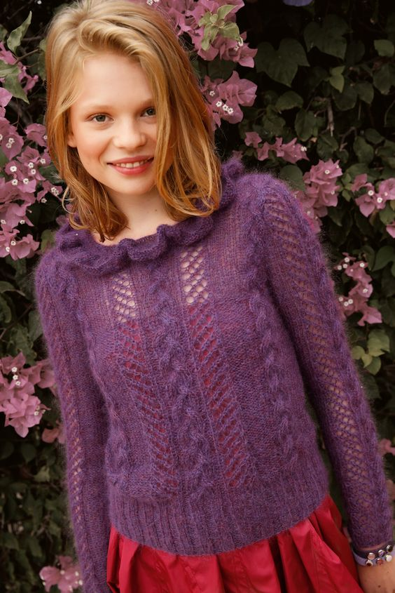 pullover mit lochmuster in lila selber stricken mit einer strickanleitung aus rebecca mein. Black Bedroom Furniture Sets. Home Design Ideas