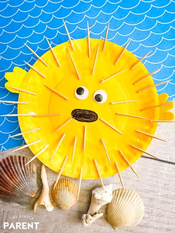 Paper Plate Puffer Fish Craft #ArtsAndCrafts #KidsCrafts #Crafts #DIY #Ocean #PaperPlates
