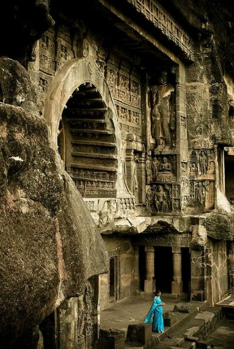 Ajanta caves. Buddhist temple, Ajanta, India