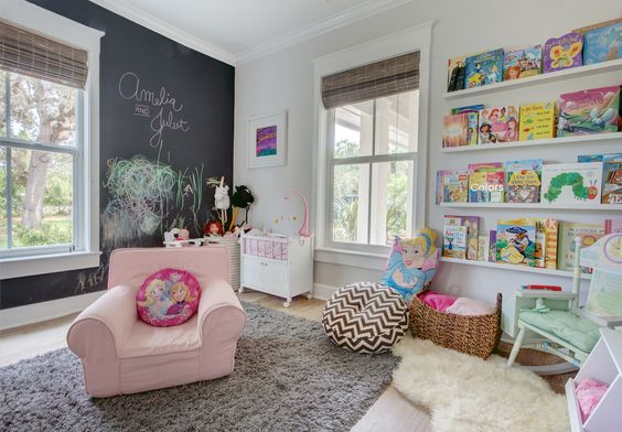 Roseland Project: Playroom with Chalkboard wall, Ikea floating bookshelves ledge, Kids room | Cute & Co.