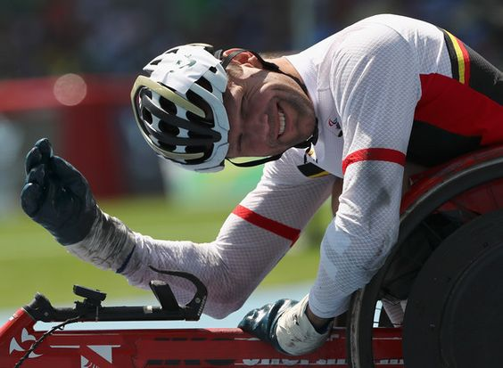 Peter Genyn of Belgium wins the Men's 100 meter T51 final at Olympic Stadium during day 6 of the Rio 2016 Paralympic Games on September 13, 2016 in Rio de Janeiro, Brazil.