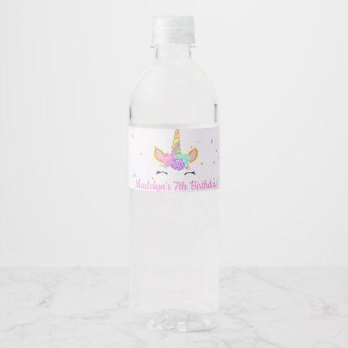 DIGITAL Customised Glitter Unicorn Party Water Bottle Labels