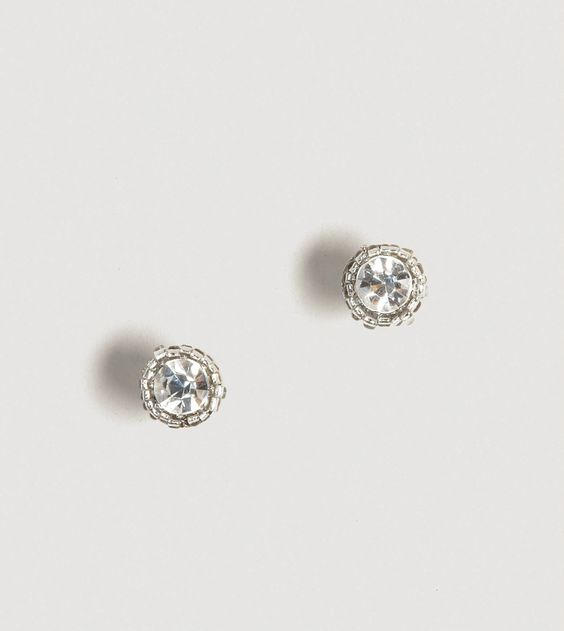 """AEO Framed Sparkle Studs.    Perfect for holiday parties.  Glass, Surgical Steel, Imitation Rhodium Plate        • Round rhinestones      • Beaded frame      • Post backs      • 0.5"""" diameter"""