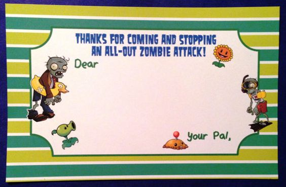 Plants vs. Zombies thank you notes!