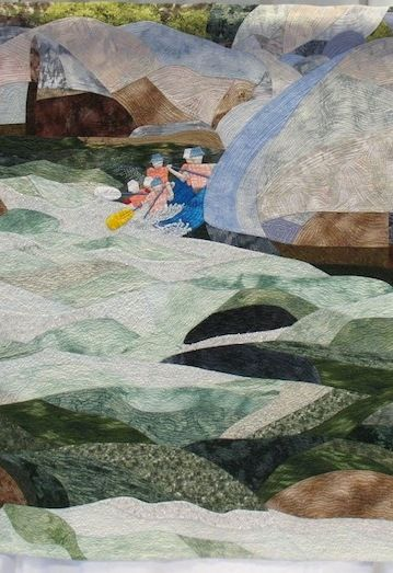 "close up,  ""Through the Waters"", a river rafting quilt by Suzanne Kistler, 2013 Best of the Valley Quilts"
