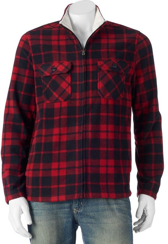 Big & Tall Croft & Barrow® Classic-Fit Plaid Arctic Fleece Jacket ...