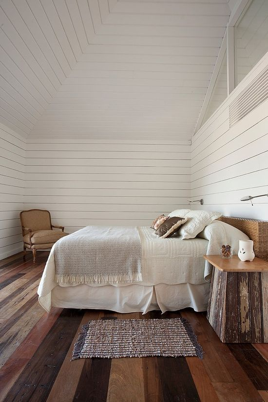 Love the floor boards and walls of this bedroom! // #burkedecor