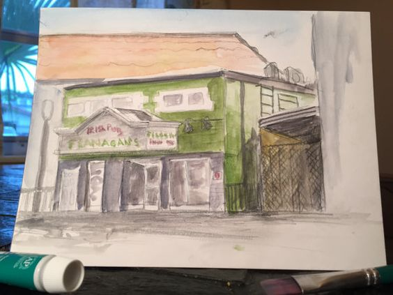 Dominick Critelli - Watercolor landscape - Flanagan's Irish Pub - Downtown Dunedin, FL
