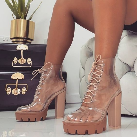 Nylah Clear Lace-Up Platform Boots