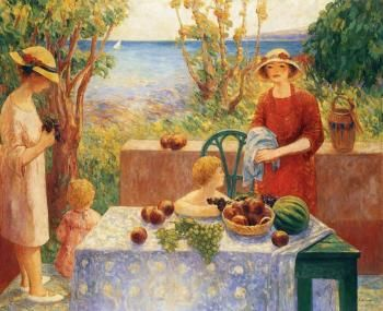 Champigné (also known as Sainte-Maxime, The Children's Snack) Henri Lebasque - 1913 oil on canvas