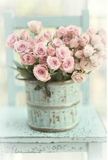 shabby chic bouquet, loving the blue green i would love this picture as a canvas