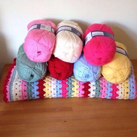 Sew, ray, me Cath Kidston inspired crochet blanket - yarn colours