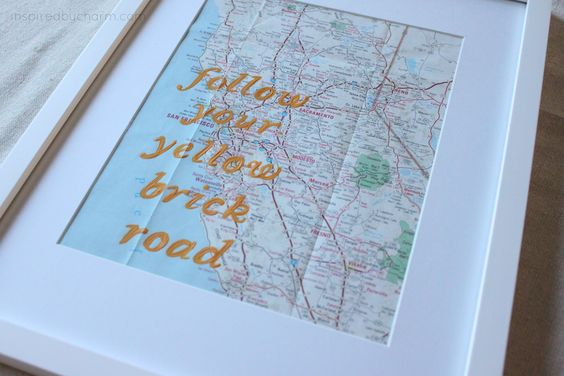 follow your yellow brick road - DIY artwork made with old maps via IBC and FOLK magazine.