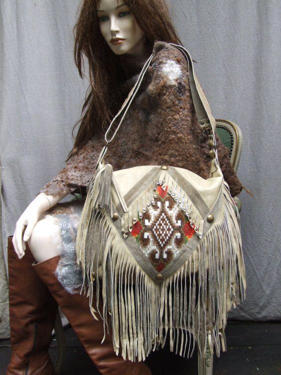 VIKNG. KILIM BAGcarpet bag.leather fringed  bag by JARMOLOWSKA