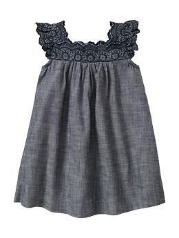 Eyelet chambray dress | Gap - going home outfit maybe???