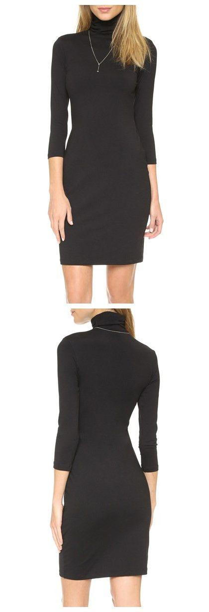 Brief Style Turtleneck 3/4 Sleeve Black Women's Bodycon Dress #Fashion#Gearbest#