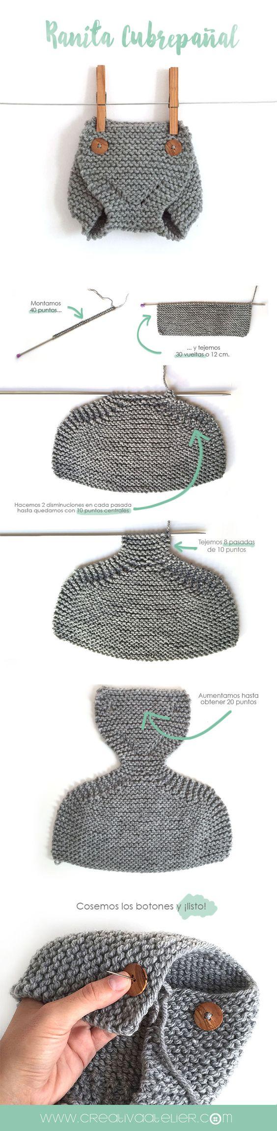 Cómo tejer una ranita cubrepañal de punto -DIY- Creativa Atelier Baby Knitted diaper cover: