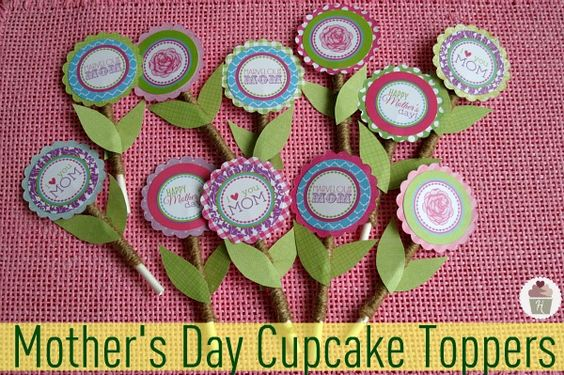 How to make Flower Cupcake Toppers for Mother's Day