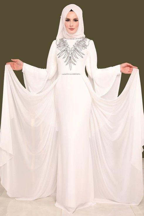 Modaselvim Abiye Sifon Kuyruklu Tasli Abiye Melg2412 S Ekru Kiyafet Elbise Mucevher