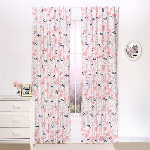 coral and navy floral window drapery panels set of two 84 x 42 inch panels living room pinterest drapery panels window and big girl rooms