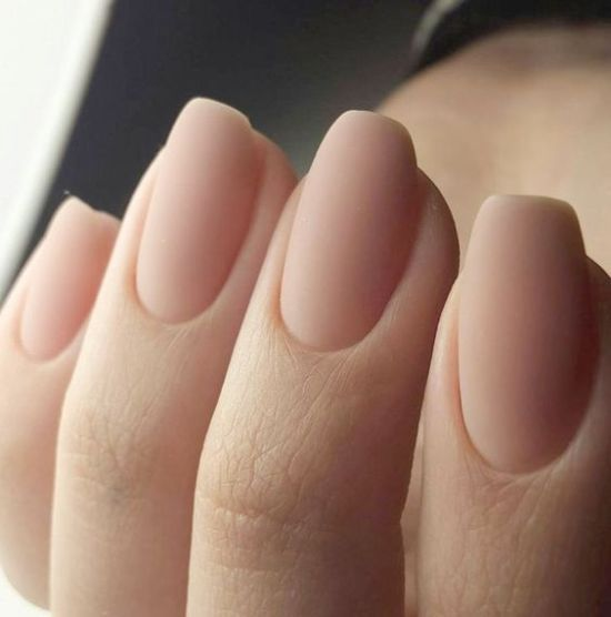 Neutral Matte Nails Of A Very Natural Shade Nails Cute Nails Manicure