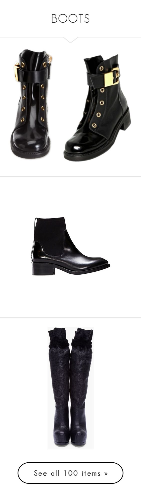 """BOOTS"" by anul1 ❤ liked on Polyvore featuring shoes, boots, ankle booties, high heel platform boots, platform boots, knee high boots, black knee high heel boots, leather sole boots, footwear and sapatos"
