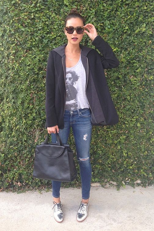 Jamie Chung wearing Reese + Riley Vixen hooded blazer AG Adriano Goldschmied The Legging Ankle Jeans Kate Spade Saturday Leather Oxfords in Metallic Silver Kate Spade Saturday The A Satchel in Black