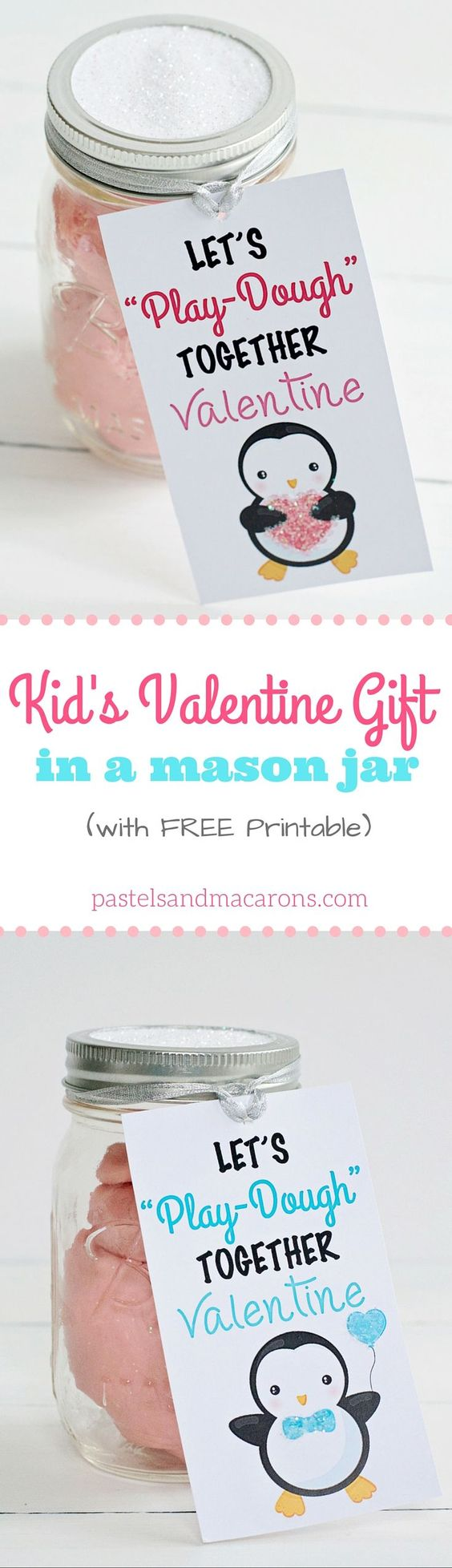 What a cute mason jar Valentine's Day gift for a child! Complete with a gorgeous free printable label!