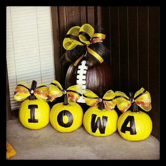 Home pumpkins and the o 39 jays on pinterest for Iowa hawkeye decor