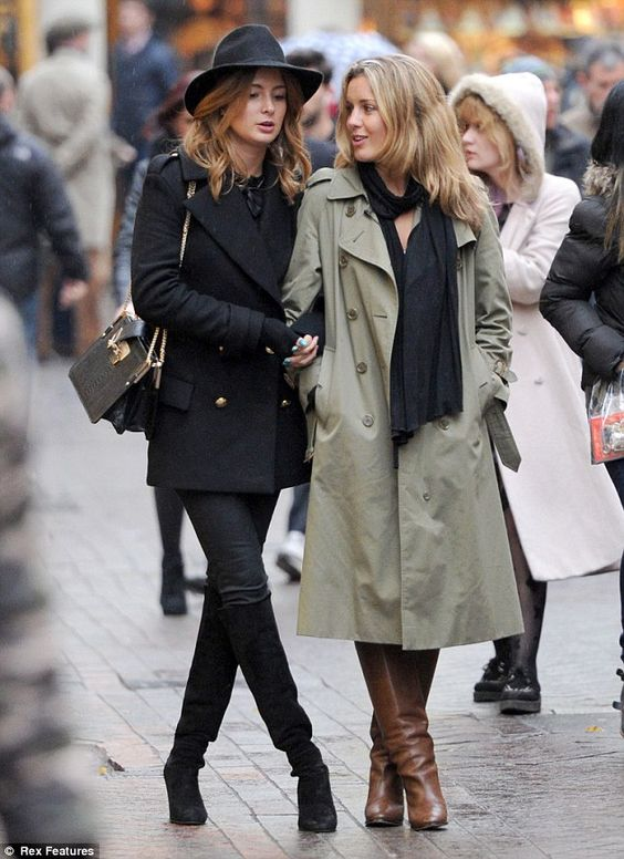 Reunited: Made In Chelsea's Millie Mackintosh and former co-star Caggie Dunlop were seen filming scenes for their latest project togther in London's Carnaby Street on Wednesday