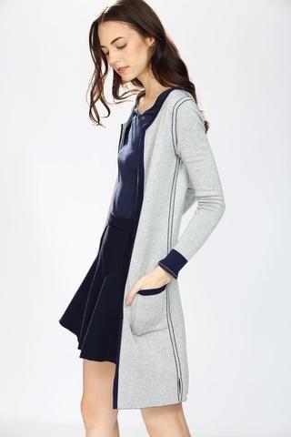 Danielle Reversible 4-Way Silk/Cashmere Cardigan/Dress – Navy/Grey