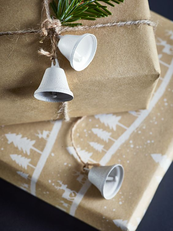 £6.50 Jingle all the way with our ten miniature metal bells. Painted in white and soft grey, each traditionally shaped real working bell is hung on a simple jute string and look great hung on your tree or as the finishing touches to your festive gifts.