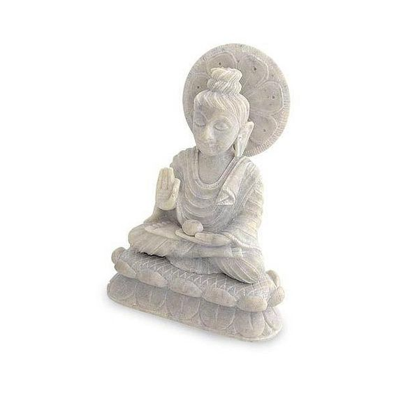 NOVICA Natural Soapstone Sculpture from India (¥8,525) ❤ liked on Polyvore featuring home, home decor, art gallery, cultural, sculpture, stone & marble sculpture, white, buddha head sculpture, novica and buddha sculpture