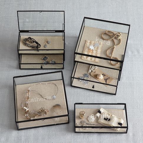 Glass Shadow Boxes | display jewelry, curios, souvenirs, or other small objects | add depth to wall displays by mounting on wall