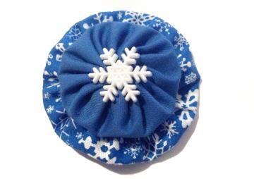 Snowflake hair clip, Winter hair accessory, blue and white