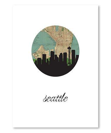 Loving this Seattle Map Skyline Print on #zulily! #zulilyfinds