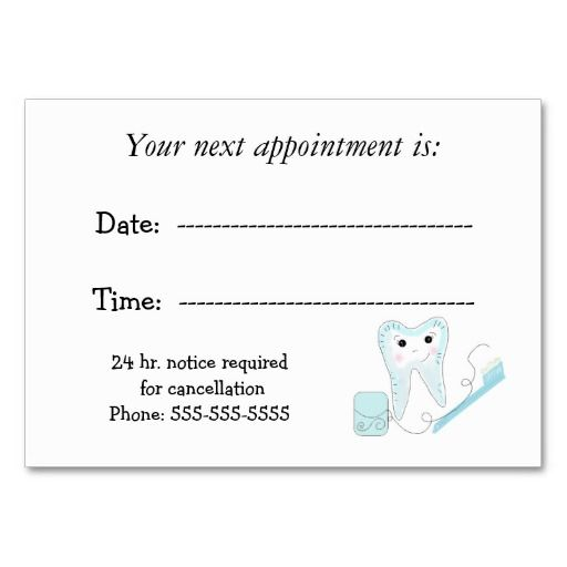 Green Appointment Reminder Card Appointments Card Templates And