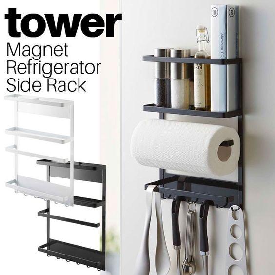 マグネットでピタっと取り付け!キッチンアイテムをまとめて収納できるマルチラック!冷蔵庫やマグネットが付く壁に取り付けられる、キッチンラック。キッチンペーパーホルダー、布巾掛け、キッチンツールホルダー、ラップホルダー、スパイスラック、キッチンで使われる色んな収納アイテムをひとまとめにした優れものです!!